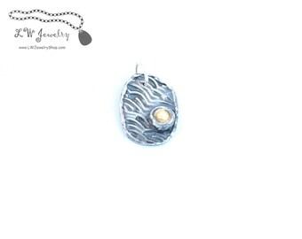 Pendant, Fine Silver, Silver, Necklace Charm, Cream, Fresh Water Pearl