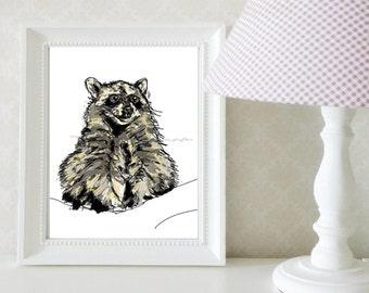 Raccoon illustration / Small Sizes / Art Print / Decoration / Gray, black and cream