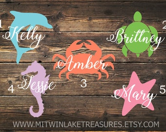 Sea Life Name Decal / Custom Color, Size, Initials Decal / Car, Yeti, Tumbler, Wall Decal / Dolphin, Seahorse, Starfish, Turtle, Crab
