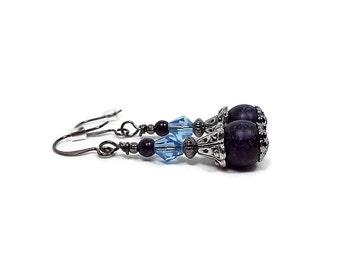 Blue Purple Earrings, Drop Earrings, Gunmetal Plated, Lever Back Hook, Vintage Style, Dangle Beaded