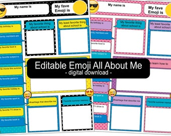 Emoji All About Me Back to School - EDITABLE!