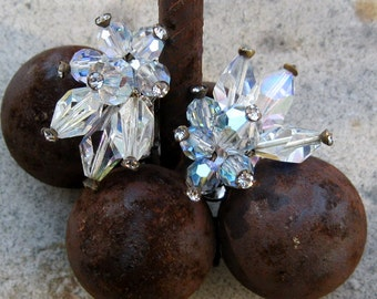 Vintage Vendome  French Clip Crystal Earrings