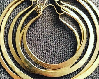 Gold Hoop Earrings Large Hoops Big Gold Hoops Gold Earrings Hammered Hoops DanielleRoseBean large Hoop Earrings Small Gold Hoop Earrings