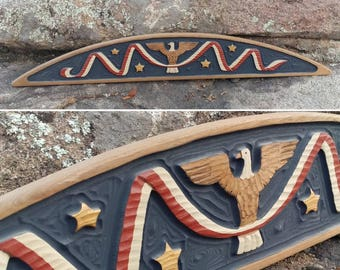"""Awesome Vintage Red, White, Blue, & Gold Carved Wood Door Topper with EAGLE and STARS measuring 35"""" x 5.5"""" x 5/8"""" ~ Americana Home Decor ~"""