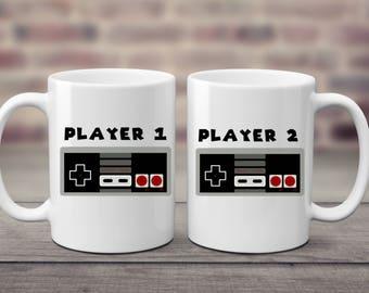 Player 1 | Player 2 | Gamer Gift | Gamer Couple | Gamer Wedding | Video Game | Nerd Gift | Geek Gift | Nerd Couple | Geek Couple | Gamer Set
