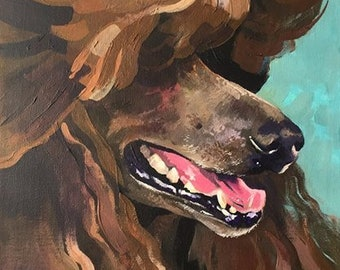 Brown Show Poodle Painting 7x9,5 inches