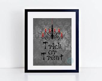 PRINTABLE Art Trick Or Treat Halloween Print Trick or Treat Print Halloween Decor Fall Art  Trick Treat Art Halloween Idea Decor Halloween