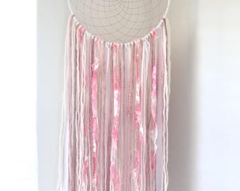 Large Pink and White Dreamcatcher - Girly Dream Catcher - Boho Pink Dreamcatcher - Girl Nursery Dreamcatcher - Room Decor - Nursery Decor