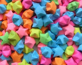 200 Neon Mix Origami Stars, Lucky Stars, Wishing Stars