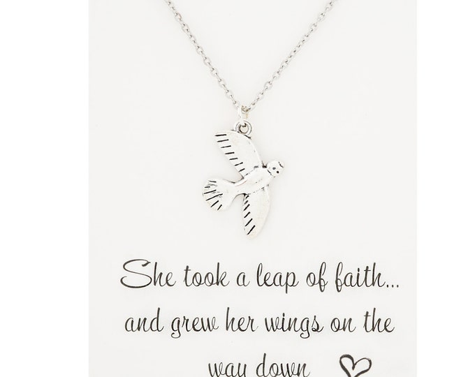 She took a leap of faith and grew her wings on the way down - silver bird necklace - silver bird jewelry - flying bird necklace - bird charm