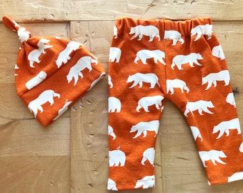 Camp Out Hat & Pants Set, Leggings, Baby, Girl, Boy, Orange, Woodland, Gift, Bears, Newborn