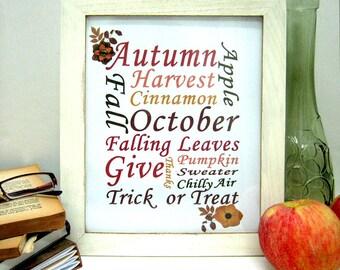 Autumn Wall Art - Fall Printables - Instant Download - Fall Wall Art - Autumn Printables - Fall Words Print - Autumn Wall Decor