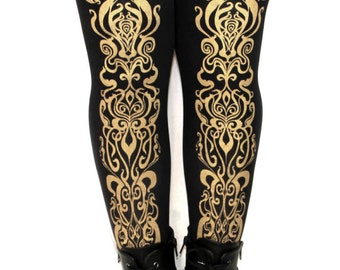 Art Nouveau Printed Tights All Sizes Gold on Black 80 D Mucha Pattern Street Style Dolly Kei Lolita