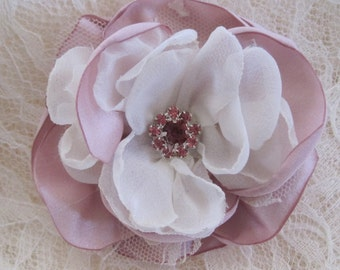 Dusty Pink Satin and Ivory Chiffon  Wedding Flower Hair Clip Bride Mother of the Bride Bridesmaids with a Pink Rhinestone Accent
