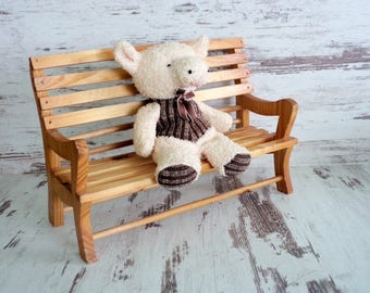 Doll House Bench, Vintage Wooden Doll House Bench, Dollhouse Garden Bench, Natural Wooden Bench, Dollhouse Furniture