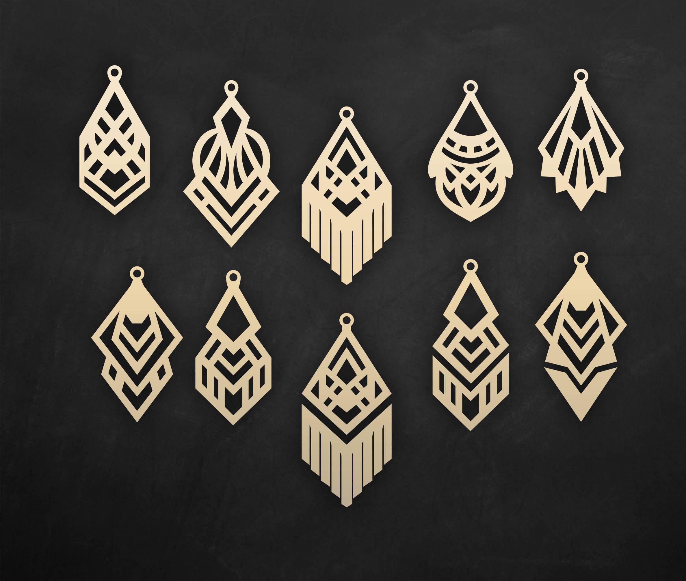 Download Faux leather geometric earrings Set, laser cut templates ...
