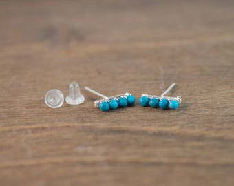 Turquoise Bar Stud Earrings 925 Sterling Silver