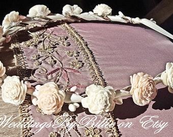 Sola Floral Crown-Blush Peach Ivory Floral Crown-Bride, Bridesmaid, Flower Girl, Baby Shower, Floral Crown - Peach, Ivory Floral Crown, Sola