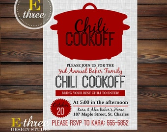 Chili Cookoff Invitations - Fall Party Invitations - Fall Chili Cook Off Invite - Red and Gray