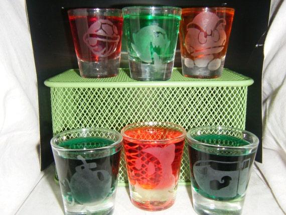 Mario Bad guys etched shot glass set of 6 fan art