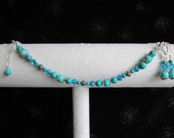 Genuine Aqua Blue Turquoise Gemstone, Crystal, and Bali Sterling Silver Bracelet & Earring Set 2