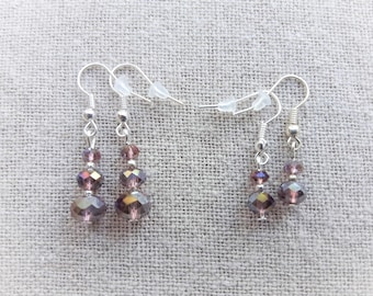Plum earrings crystal earrings pink earrings crystal earrings dangle earrings