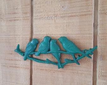 Woodland Birds on a Branch with four hooks / Bird Decor / Hooks / Organization