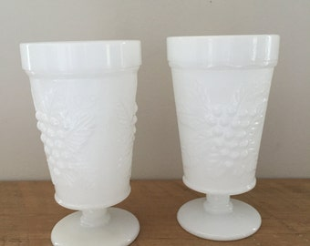 Pair of Milk Glass Footed Cups