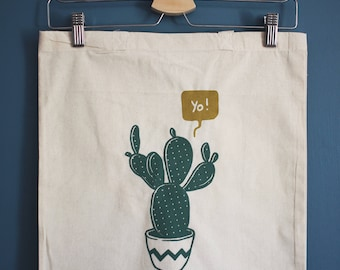Screen printed on totebag - cactus or burger illustration - limited edition!