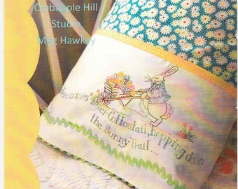 Easter Pillow Case Pattern, Crabapple Hill Here Comes Peter Cottontail  CAH271 Meg Hawkey, Bunny Pillowcase, Spring Embroidery Pillowcase