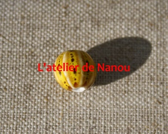 ceramic bead handmade 10 mm yellow pumpkin shape