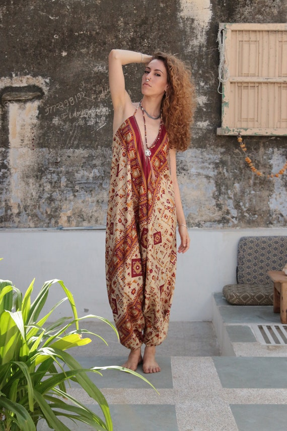 RETRO TRIBAL JUMPSUIT - Bohemian - Summer - Prom - Vintage Print - Wedding outfit - Festival - Halter neck - Couture - Backless - Maxi dress