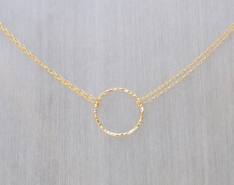 Circle Necklace, Double Chain Eternity Karma Circle Necklace, Hammered Eternity Necklace, Delicate Circle Necklace in 14k Gold ,Silver