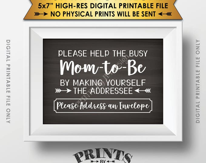 """Baby Shower Address Envelope Sign, Help the Mom-to-Be Address an envelope Shower Decoration 5x7"""" Chalkboard Style Printable Instant Download"""