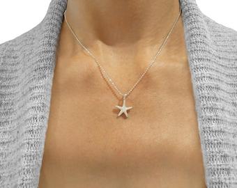 Tiny Silver Starfish Necklace