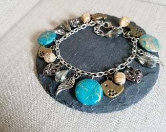 Gemstone Angel Wing Bird Bracelet, Fringe Bracelet, BOHO Bracelet, mixed metal bracelet, Charm Bracelet, Dangle Bracelet, Handmade Jewelry