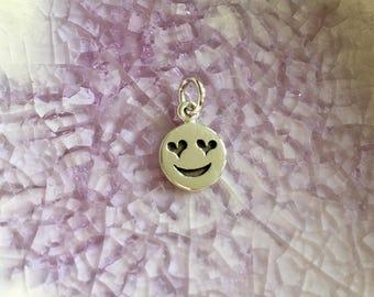 Emoji Charm -  Sterling Silver Charm - Emoji Theme Charm - Heart Emoji - Charm for Her - Emoji Jewelry - Emojis