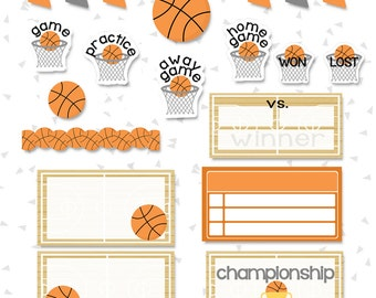 On the Court | Basketball Sticker Set |  OVER 80+ Kiss-Cut Stickers |  Perfect for Erin Condren Life Planner & Scrapbook Planners | DK12 |