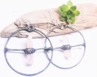 Raw Danburite crystal earrings, Crystal hoop earrings, Natural stone earrings, Raw stone earrings, Stone jewelry, Natural jewelry, Gothic