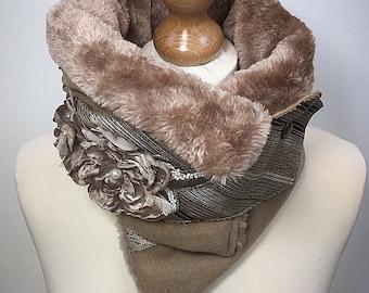 Beige neck scarf, camel scarf, Ultimate Neck warmer, Ruffle neckwear, easter scarf, Cowl,Warm neckwear, Fur scarf,