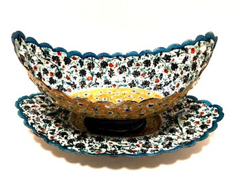 Antique Persian Copper Enamel Kashkul Bowl Hand Painted with Underplate