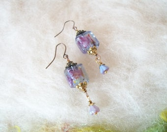 Small Earrings Dainty Feminine Lamp Work Beaded Boho Dangle Earrings Vintage Inspired Bronze Copper Filigree Bead Caps Wedding Jewelry