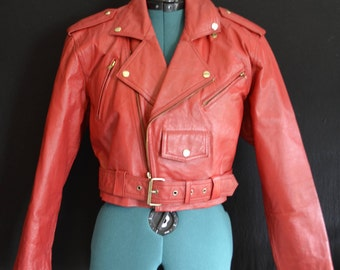 80s Red Leather Motorcycle Jacket Wilsons Experts Cropped Retro Zippers Buckles Snaps
