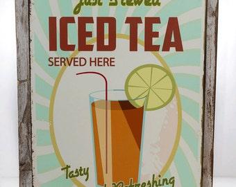 Framed Fresh Brewed Iced Tea Metal Sign, Retro Diner Decor, Cafe Decor,Kitchen Décor HB7027F