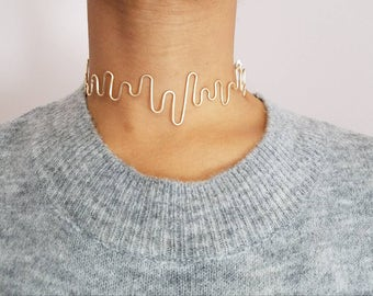 Minimalist Gold Choker with Suede Tie Closure Wire Wrapped Statement Collar Custom Necklace