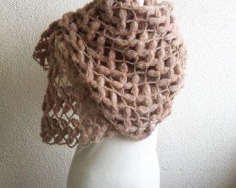 Bridal Shawl, Wedding Shawl, Soft pastel shades, light brown, beige, crochet Shawl,Rectiangle Shawl, OOAK