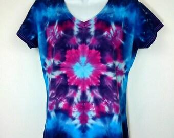 Tie Dye T-Shirt, Women's tie dye, Women's t-shirt, V-neck T-Shirt, Festival T-Shirt, Mandala T-Shirt, Large T-Shirt, Size UK 12-14 T-Shirt