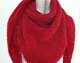 Trendy shawl Red Raspberry alpaca and silk