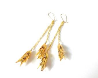 Wheat dangle earrings, gold wheat earrings