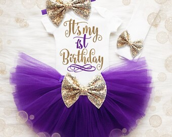 Baby Girl 1st Birthday Shirt   1st Birthday Girl Birthday Outfit   1st Birthday Tutu Set   Cake Smash Outfit   Purple And Gold 1st Birthday